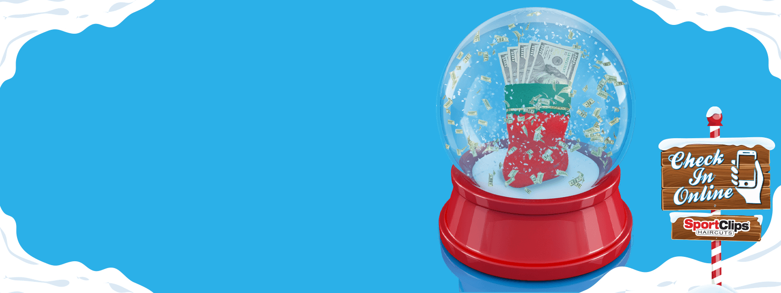Snow Globe Full of Money with North Pole Sign
